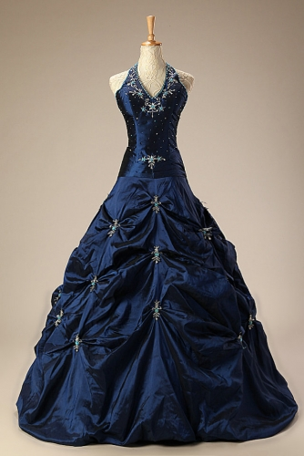 Navy Beaded Quinceanera Dresses with Pickups Taffeta Skirt
