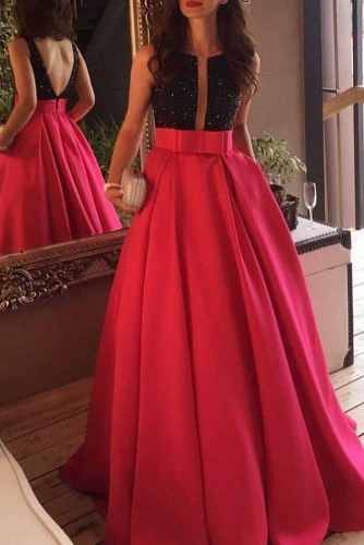 Jewel Neckline Red Prom Dresses with Black Beaded Bodice