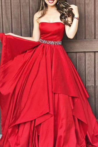 Strapless Red A Line Taffeta Dresses with Beaded Belt