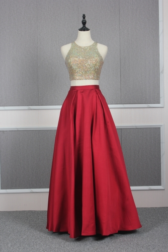 Red Two Pieces Style Dress with Beaded Crop Top and Pocket