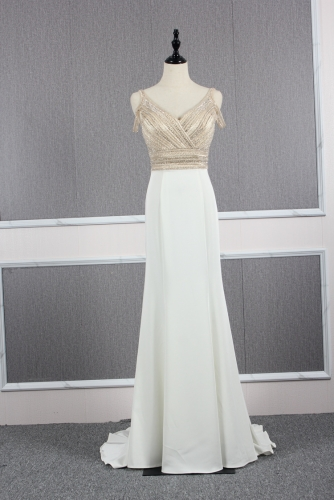 V Neckline Ivory Dress with Beaded Off Shoulder Bodice