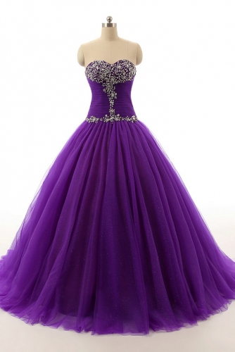 Purple Tulle Ball Gown Quinceanera Dresses with Beading