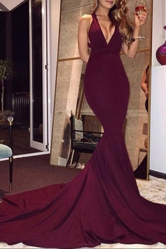 V Neck Burgundy  Stretch Jersey Mermaid Prom Dresses
