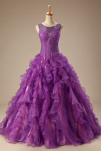 Beaded Purple Ball Gown Quinceanera with Ruffled Organza Skirt