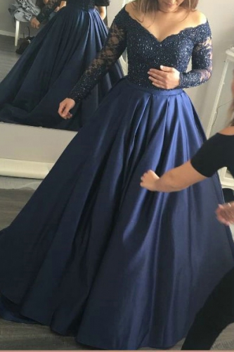 Navy Ball Gown Dresses with Beaded Long Sleeves Lace Bodice