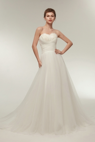Simple Pleated A Line Wedding Dresses with Feathers