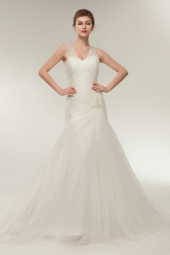 Asymmetrically Drapped Fit and Flare Tulle Wedding Dresses