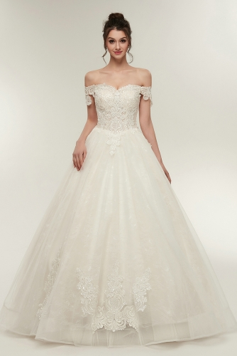 Off Shoulder Ball Gown Wedding Dresses with Beaded Lace