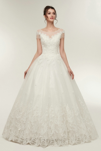 Ball Gown Lace Wedding Dresses with Beaded Cap Sleeves