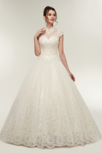 Keyhole Back Wedding Dresses with Beaded Lace