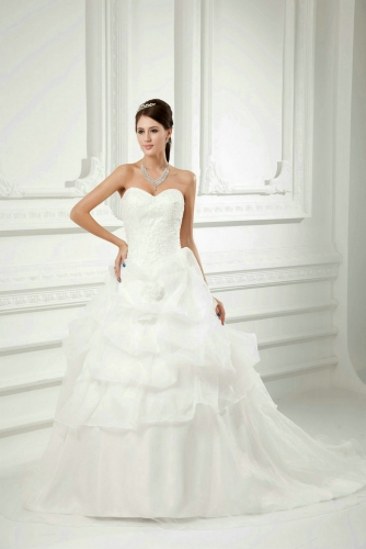Drop Waist Ball Gown Organza Wedding Dress with Lace