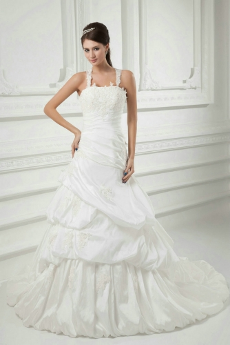 Fit and Flare Drapped Taffeta Wedding Dresses with Lace