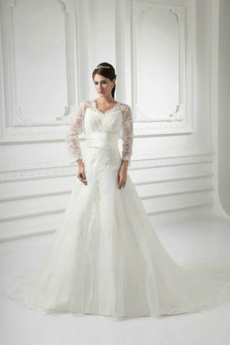 A Line Lace Wedding Dresses with Sheer Long Sleeves