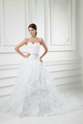 Drop Waist Wedding Dresses with Ruffled Organza Skirt