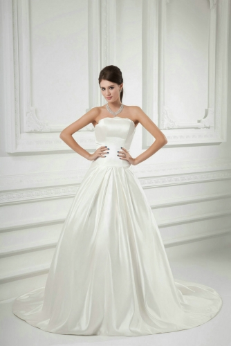 Simple A Line Satin Wedding Dresses with Pleats