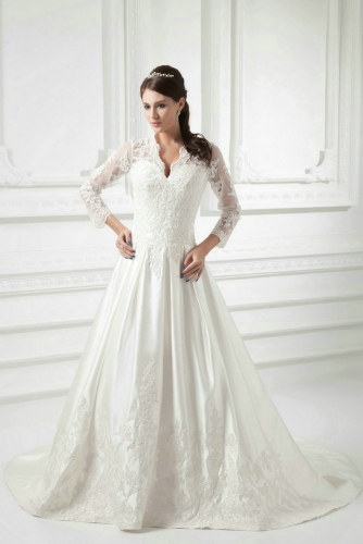 A Line Long Sleeves Lace Wedding Dresses