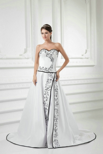 Black Embroidery over White Satin Wedding Dresses