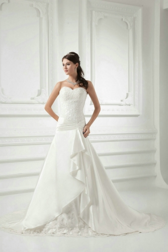 Drop Waist A Line Wedding Dresses with Lace Appliques