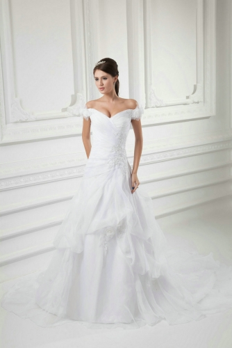 Off Shoulder Ball Gown Organza Wedding Dresses with Lace