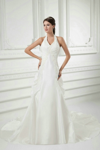 Halter Top Fit and Flare Taffeta Wedding Dresses with Pickups