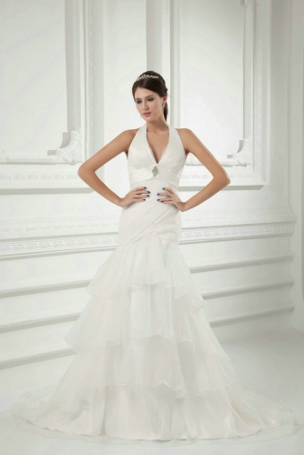 Halter Neck Fit and Flare Organza Wedding Dresses