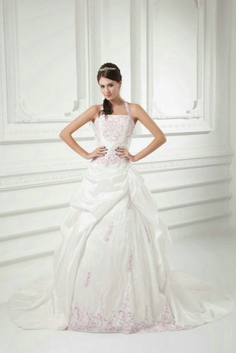 Ivory Ball Gown Wedding Dresses with Pink Embroidery
