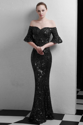 Black Mermaid Sequin Fabric Dresses with Sleeves