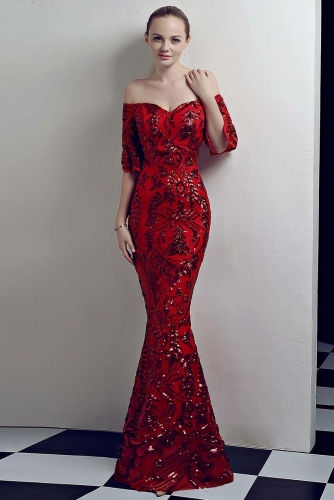 Red Mermaid Sequin Fabric Dresses with Sleeves