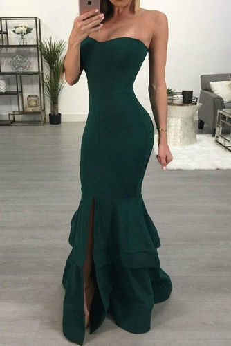 Sexy Emerald Green Mermaid Jersey Prom Dresses with Slit