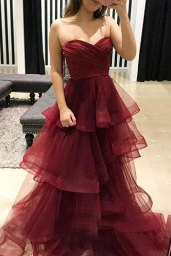 Open Back Burgundy Prom Dress with Tiered Tulle Skirt