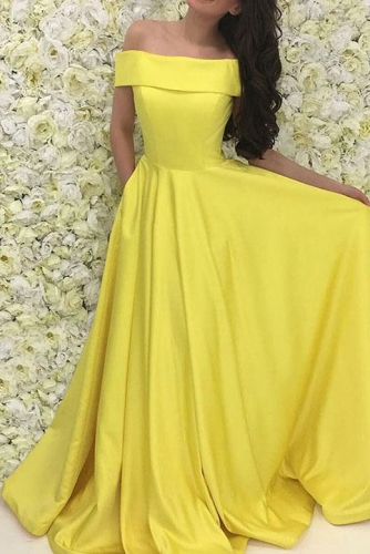 Bright Yellow Off the Shoulder Satin Prom Dress with Train