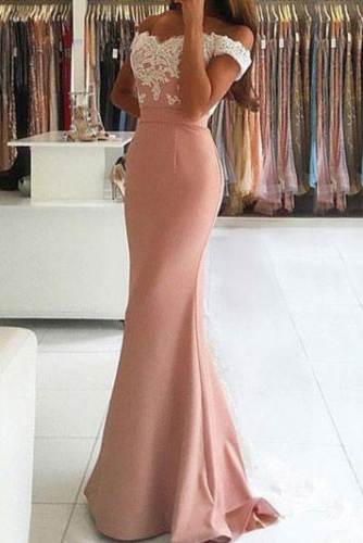 Dusty Rose Mermaid Satin Dress with Lace Appliques