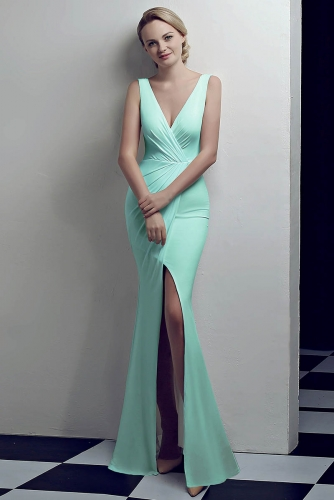 Aqua Low V Neck Stretch Jersey Dresses with Slit