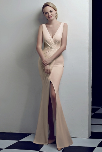 Champagne Low V Neck Stretch Jersey Dresses with Slit