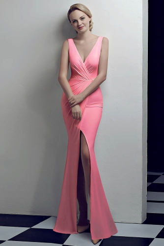 Pink Low V Neck Stretch Jersey Dresses with Slit