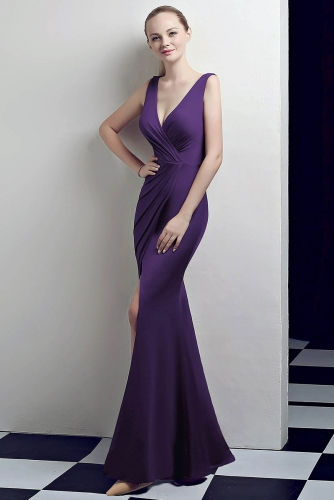 Purple Low V Neck Stretch Jersey Dresses with Slit
