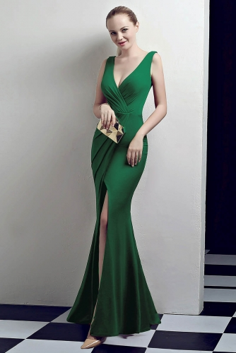 Green Low V Neck Stretch Jersey Dresses with Slit