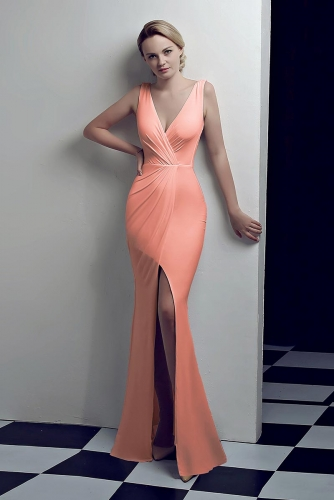 Peach Low V Neck Stretch Jersey Dresses with Slit