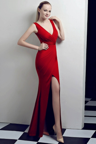 Red Low V Neck Stretch Jersey Dresses with Slit