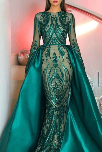 Emerald Green Long Sleeves Sequin Dresses with Overskirt