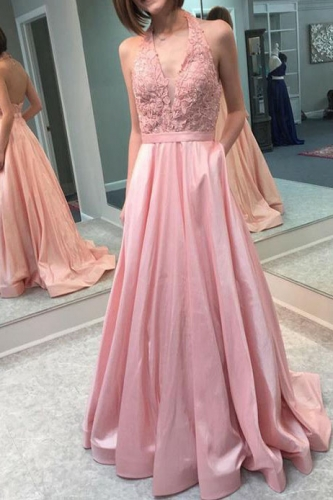 Dusty Pink Taffeta Prom Dress with Lace Halter Top