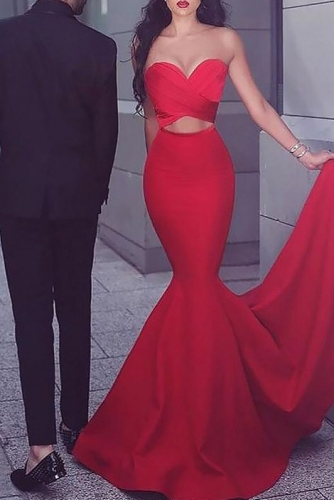 Red Satin Strapless Mermaid Prom Dresses