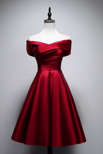 Short Knee Length Burgundy Satin Dress with Off Shoulder