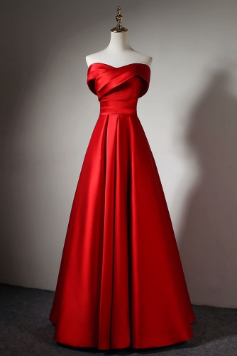 A Line Simple Red Satin Dress with Off Shoulder