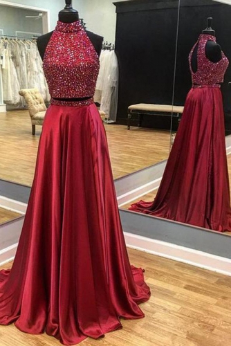 Two Pieces Style Red Satin Prom Dress with Beaded Top