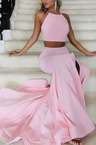 Two Pieces Style Pink Mermaid Jersey Prom Dress with Slit