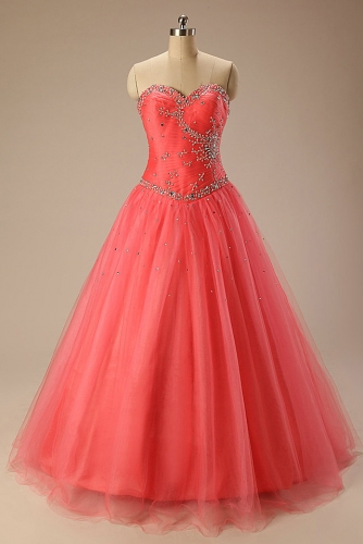 Coral Pink Ball Gown Tulle Dresses with Beading
