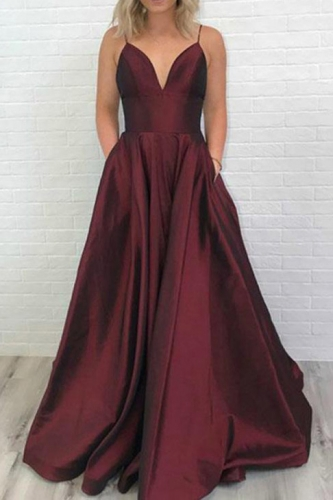 Sexy Dark Red Taffeta Prom Dress with Pockets