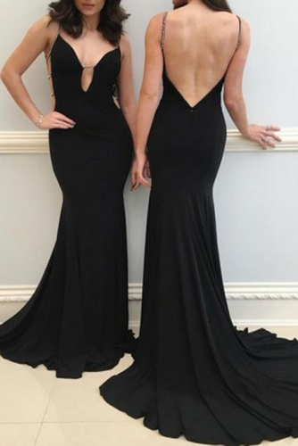 Sexy Black Long Mermaid Low V Open Back Prom Dress