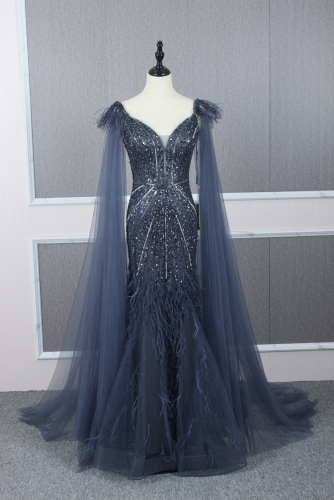 Heavily Beaded Navy Mermaid Evening Dress with Cape